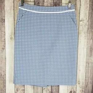 The Limited blue & white polka dot pencil skirt